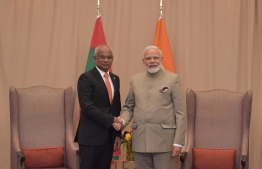 President Ibrahim Mohamed Solih (L) meets Indian Prime Minister Narendra Modi at the United Nations General Assembly on September 24, 2019. PHOTO: PRESIDENT'S OFFICE
