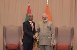 President Ibrahim Mohamed Solih (L) meets Indian Prime Minister Narendra Modi at the United Nations General Assembly on September 24, 2019. PHOTO: PRESIDENT'S OFFICE
