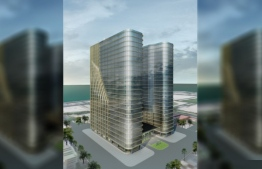 A rendering of the 25-storey office complex under construction at Hulhumale' Phase Two by Malaysian company WZR Property. The company filed for arbitration over a contract breach by the current government. PHOTO: MIHAARU