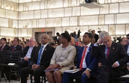 President Ibrahim Mohamed Solih (L) attends the Blue Leaders Call to Action on Ocean and Climate summit in New York on September 25, 2019. PHOTO/PRESIDENT'S OFFICE
