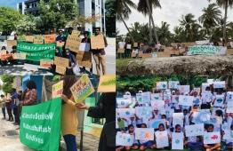 Climate Strikes in Addu, (T, L) Kulhudhuffushi, Haa Dhaalu Atoll (B, L) Fuvahmulah ( T, R) Kamadhoo, Baa Atoll (B, R). PHOTO CREDITS: COACH SHUJAU, AFA HUSAYN, LUJAIN HASAN, FAZULU FAZ.