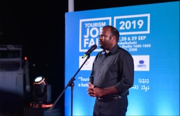 Minister of Tourism Ali Waheed speaks at the inauguration of Tourism Job Fair 2019. PHOTO: HUSSAIN WAHEED / MIHAARU