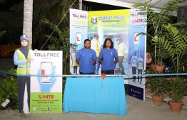 The Tourist Police helpdesk was launched in reclaimed suburb Hulhumale'. PHOTO: MALDIVES POLICE SERVICE