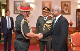 Indian Chief of the Army Staff General Bipin Rawat called on President Ibrahim Mohamed Solih at the President's Office. PHOTO: PRESIDENT'S OFFICE