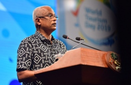 President Ibrahim Mohamed Solih speaks at Tourism Day 2019 Gala Night held at Crossroads Maldives.PHOTO: PRESIDENT'S OFFICE