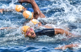 Participants swimming at the Dhiraagu Male' Open swimming event held on October 12. PHOTO: NISHAN ALI/ MIHAARU