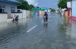 Flooded roads of Addu following heavy monsoon storms.