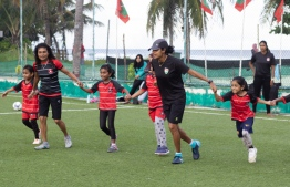 During the skating/futsal event hosted on October 12, 2019, by Skate Boarding Association of Maldives (SBA) and Women's Football Club to commemorate International Day of the Girl Child. PHOTO/AHMED NAAISH