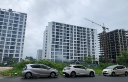 Flats allocated for Maldives Police Service (MPS) and Maldives National Defence Force (MNDF) personnel under construction at Hulhumale'. PHOTO: MIHAARU