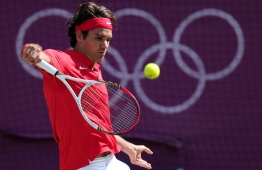 Roger Federer during his torrid defeat by Andy Murray in the 2012 Olympic final. PHOTO: CARL COURT / AFP