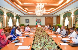 President Solih meeting with the members of the cabinet on October 15, 2019. PHOTO: PRESIDENT'S OFFICE