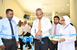 President Solih inaugurates dental services at Dhaalu Atoll Hospital. PHOTO: PRESIDENT'S OFFICE