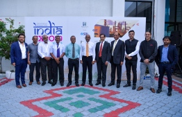 President Ibrahim Mohamed Solih (C) outside the India Expo 2019 held at convention centre Dharubaaruge. PHOTO: TWITTER