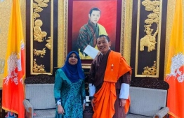 The newly appointed Non-resident Ambassador to Bhutan Aishath Mohamed Didi and Bhutanese Prime Minsiter Dr. Lotay Tshering. PHOTO: MINISTRY OF FOREIGN AFFAIRS