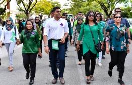 Vice President Faisal Naseem taking part in the parade organized by Aminiya School to celebrate it's 75th Anniversary. PHOTO: PRESIDENT'S OFFICE