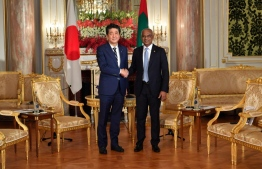 President Ibrahim Mohamed Solih and Japanese Prime Minister Shinzo Abe. PHOTO: PRESIDENT'S OFFICE