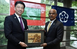 President Ibrahim Mohamed Solih (R) visits Odawara City of Japan and meets Mayor Kenichi Kato. PHOTO: PRESIDENT'S OFFICE