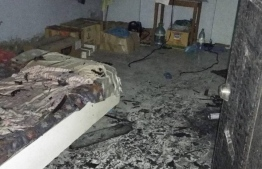 Damages sustained by Kakaage during the fire. PHOTO: MNDF
