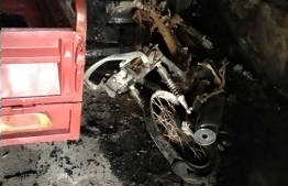 The remains of the motorcycle which burned in the fire at Kulhudhuffushi, Haa Dhaalu Atoll. Police suspect the blaze was set deliberately. PHOTO: MNDF