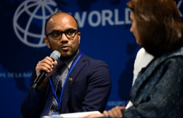 Minister of Finance Ibrahim Ameer speaking at the World Bank Annual Meetings held from October 18 to 20, 2019. PHOTO: FINANCE MINISTRY