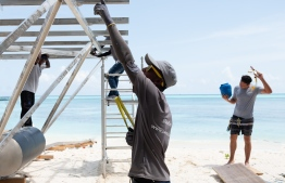 A photograph taken during the installation process of the solar panels. PHOTO: SWIMSOL MALDIVES