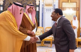 Newly appointed Ambassador to the Kingdom of Saudi Arabia Mohamed Khaleel presenting his credentials to the Custodian of the Two Holy Mosques King Salman Bin Abdulaziz Al Saud. PHOTO: MINISTRY OF FOREIGN MINISTRY