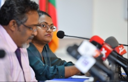 Anti-Corruption Commission (ACC) President Mariyam Shiuna at a Maldives Police Service press conference. PHOTO: HUSSAIN WAHEED / MIHAARU