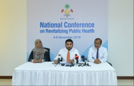 Press briefing held at the Ministry of Health about the National Conference on Revitalising Public Health. PHOTO: HUSSAIN WAHEED/ MIHAARU