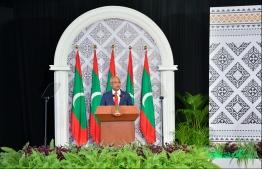 President Ibrahim Mohamed Solih speaks at the ceremony held to mark National Day, on October 28, 2019, at Dharubaaruge. PHOTO: HUSSAIN WAHEED / MIHAARU