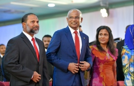 L-R: Home Minister Imran Abdulla, President Ibrahim Mohamed Solih and First Lady Fazna Ahmed at the National Day commemoration ceremony held October 28, 2019, at Dharubaaruge. PHOTO: HUSSAIN WAHEED / MIHAARU