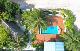 Overhead view of Kottafaru Guesthouse in Hanimaadhoo, Haa Dhaal Atoll. PHOTO: HAWWA AMANY ABDULLA/ THE EDITION