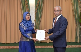 President Ibrahim Mohamed Solih appoints Asma Shafeeu as the Deputy Commissioner General of Taxation. PHOTO/PRESIDENT'S OFFICE