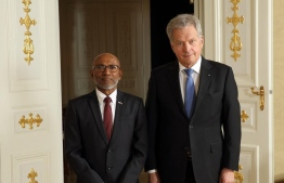 Ambassador of Maldives to Finland Ahmed Latheef, presented his Letter of Credence to the President of Finland, Sauli Niinisto, on November 1. PHOTO/FOREIGN MINISTRY