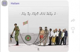 A screenshot of the controversial Victory Day greeting image Chief Judge Ahmed Hailam shared on a Criminal Court Viber group chat.