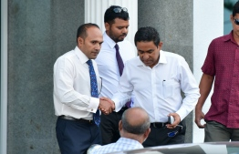President Abdulla Yameen Abdul Gayoom and member of his legal team, former Vice President Mohamed Jameel Ahmed.