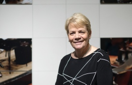 New Chief Conductor of the Vienna Radio Symphony Orchestra (RSO) Marin Alsop gives an interview before a public rehearsal in the Great Broadcasting Room of the Austrian Broadcasting Corporation (ORF) in Vienna on October 23, 2019. (Photo by ALEX HALADA / AFP)