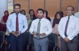 Health Minister Abdulla Ameen inaugurates MFDA's Dhirithi portal. PHOTO/HEALTH MINISTRY