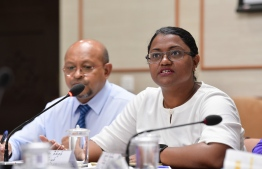 ACC President Shiuna at the Parliament's budget review committee. PHOTO: NISHAN ALI/ MIHAARU