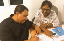 Colonel (Retired) Ahmed Jihad (L) and his spouse, Male' City Council's Mayor Shifa Mohamed.