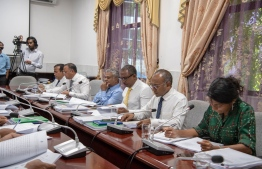 The parliament's National Security Services holding a session on November 18 to discuss measures to take regarding the Presidential Commission's report on former Ungoofaaru MP Dr Afrasheem Ali's murder. PHOTO: PARLIAMENT