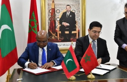 Minister of Foreign Affairs Abdulla Shahid signing the Visa Waiver agreement between Maldives and Morocco during the first-ever official visit to Morocco by a Maldivian Foreign Minister. PHOTO: FOREIGN MINISTRY