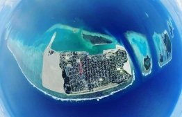 An aerial photograph of Thinadhoo, Gaafu Dhaalu Atoll. PHOTO: THINADHOO ISLAND COUNCIL