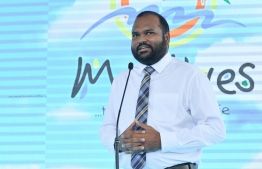 Minister of Tourism Ali Waheed speaks at the ceremony held at VIA to welcome the 1.5 millionth tourist of 2019 to Maldives, on November 24. PHOTO: NISHAN ALI / MIHAARU