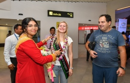 Marina Kazakova of Russia became the 1.5 million tourist to arrive in Maldives on November 24, 2019. PHOTO: NISHAN ALI / MIHAARU