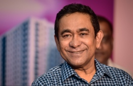 Former President Abdulla Yameen Abdul Gayoom attending a ceremony held by Progressive Party of Maldives (PPM). The opposition appealed Yameen's five-year prison sentence at High Court on December 30. PHOTO: NISHAN ALI/ MIHAARU