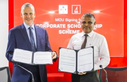 Minister of Higher Education Dr Ibrahim Hassan and BML's CEO and Managing Director Tim Sawyer. PHOTO: BML