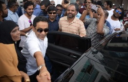 Former President Abdulla Yameen Abdul Gayoom arrives at the Criminal court for his hearing. PHOTO: NISHAN ALI/ MIHAARU