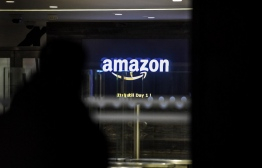 Amazon France headquarters in Clichy, north of Paris, early on November 29, 2019. PHOTO: STEPHANE DE SAKUTIN / AFP