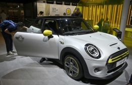 A Mini Electric car is put on display at the IAA Car Show in Frankfurt, in September. PHOTO: TOBIAZ SCHWARZ / AFP