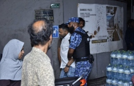 Naifaru MP Ahmed Shiyam being arrested by SO Police officers during opposition protests. PHOTO: MIHAARU FILES